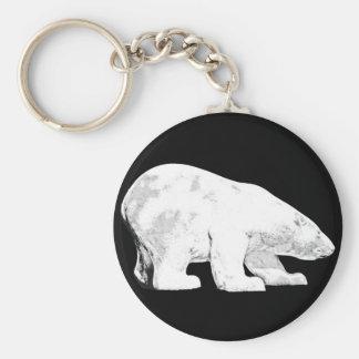 Oso polar, fondo negro (6) llavero redondo tipo pin