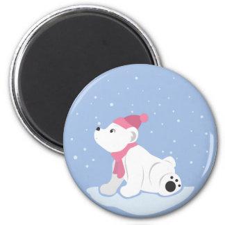 Oso polar imán redondo 5 cm