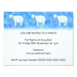 Oso polar invitación 10,8 x 13,9 cm