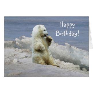 Oso polar lindo Cub y cumpleaños ártico del hielo Tarjetón