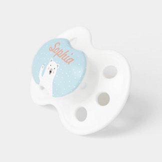 Oso polar lindo de encargo en la nieve chupetes de bebe
