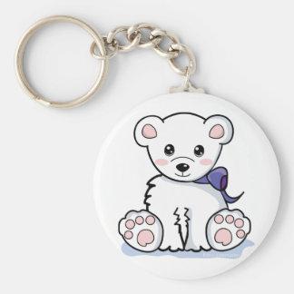 Oso polar lindo llavero redondo tipo pin