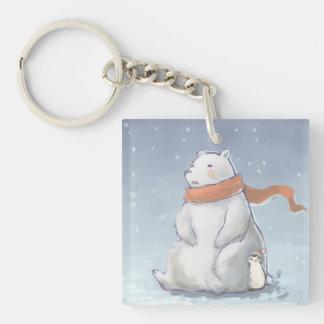 Oso polar lindo Norte y pingüino de Polo del navid Llavero Cuadrado Acrílico A Una Cara