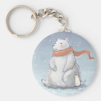 Oso polar lindo Norte y pingüino de Polo del navid Llavero Redondo Tipo Pin