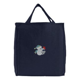 Oso polar lindo y la bolsa de asas bordada cardena