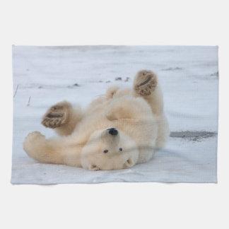 oso polar, maritimus del Ursus, cachorro que rueda Toalla De Cocina