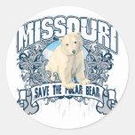Oso polar Missouri Pegatina Redonda