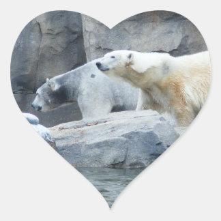 Oso polar: Nakita y Berlín Pegatina En Forma De Corazón