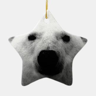 Oso polar negro y blanco adorno de cerámica en forma de estrella