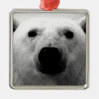 Oso polar negro y blanco adorno cuadrado plateado