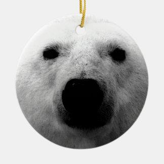 Oso polar negro y blanco adorno redondo de cerámica