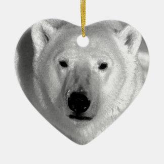 Oso polar negro y blanco adorno de cerámica en forma de corazón