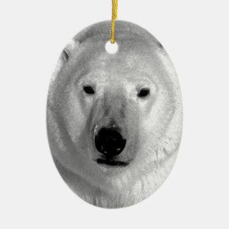 Oso polar negro y blanco adorno ovalado de cerámica