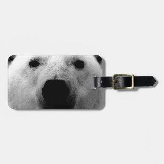 Oso polar negro y blanco etiqueta de equipaje