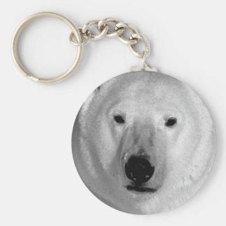 Oso polar negro y blanco llavero redondo tipo pin