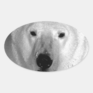 Oso polar negro y blanco colcomanias de oval