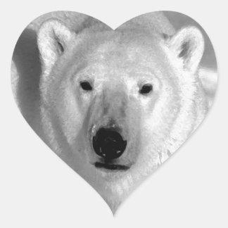 Oso polar negro y blanco calcomania corazon