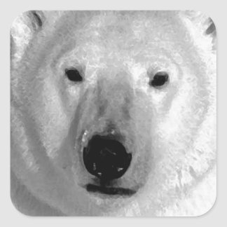 Oso polar negro y blanco pegatina cuadradas