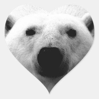 Oso polar negro y blanco pegatina en forma de corazón