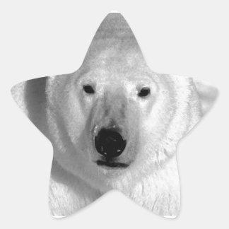 Oso polar negro y blanco pegatina en forma de estrella