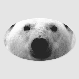 Oso polar negro y blanco pegatina ovalada