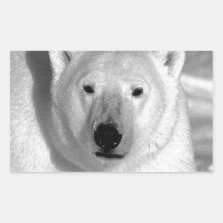 Oso polar negro y blanco pegatina rectangular