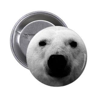 Oso polar negro y blanco pin redondo de 2 pulgadas