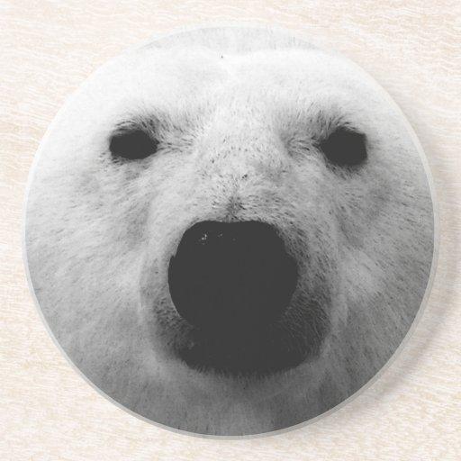 Oso polar negro y blanco posavasos personalizados