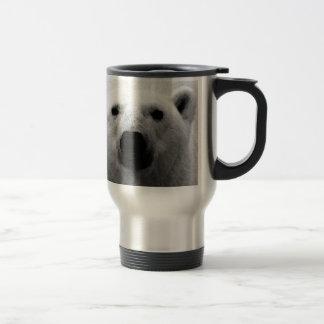Oso polar negro y blanco taza de viaje de acero inoxidable