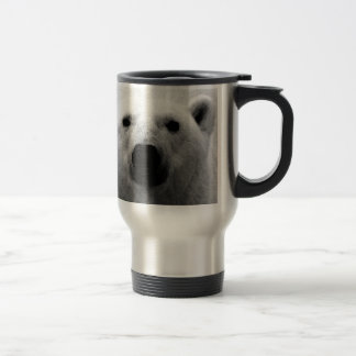 Oso polar negro y blanco taza de viaje