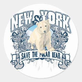 Oso polar Nueva York Etiquetas Redondas