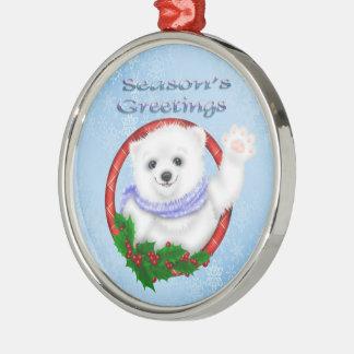 Oso polar Orname redondo superior de los saludos d Ornamentos Para Reyes Magos