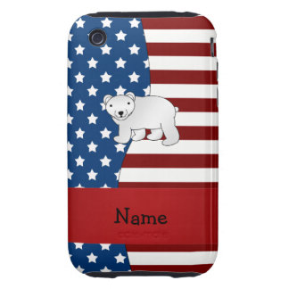 Oso polar patriótico conocido personalizado tough iPhone 3 cobertura