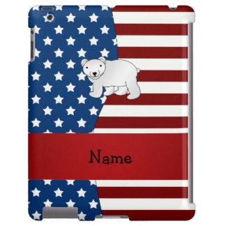 Oso polar patriótico conocido personalizado funda para iPad