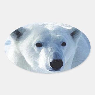 Oso polar pegatinas ovales