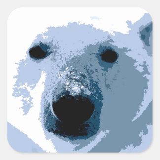 Oso polar calcomanía cuadrada