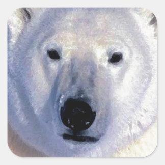 Oso polar calcomanía cuadradas