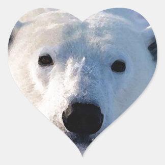 Oso polar calcomanías corazones personalizadas