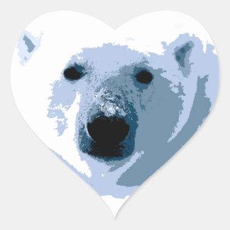 Oso polar pegatina en forma de corazón