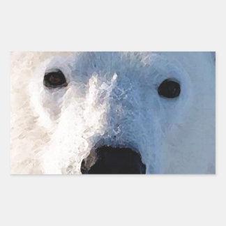 Oso polar pegatina rectangular