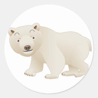 Oso polar pegatina redonda