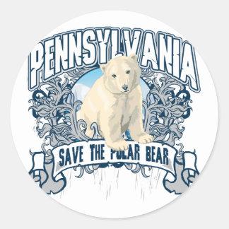 Oso polar Pennsylvania Etiquetas Redondas