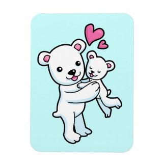 Oso polar que abraza el oso del bebé iman rectangular
