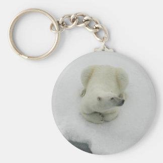Oso polar que dormita llavero redondo tipo pin