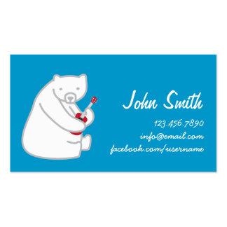 Oso polar que juega la tarjeta del perfil de la tarjetas de visita