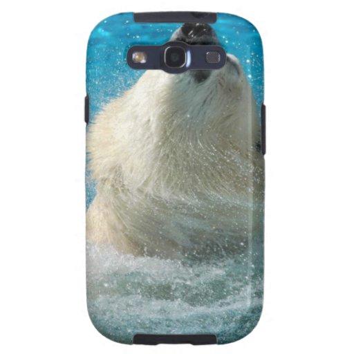 Oso polar que toma una nadada samsung galaxy SIII funda