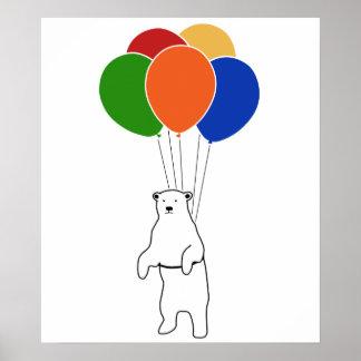 Oso polar que vuela con los globos del cumpleaños poster