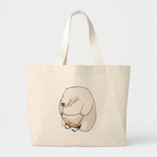 oso polar rechoncho sledding divertido bolsa de tela grande
