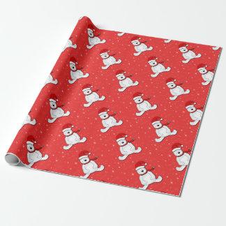 Oso polar rojo papel de regalo