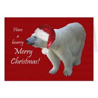 Oso polar Santa del navidad de la tarjeta de felic